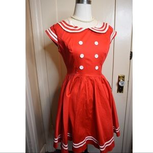 Red retro Hell Bunny sailor dress size small